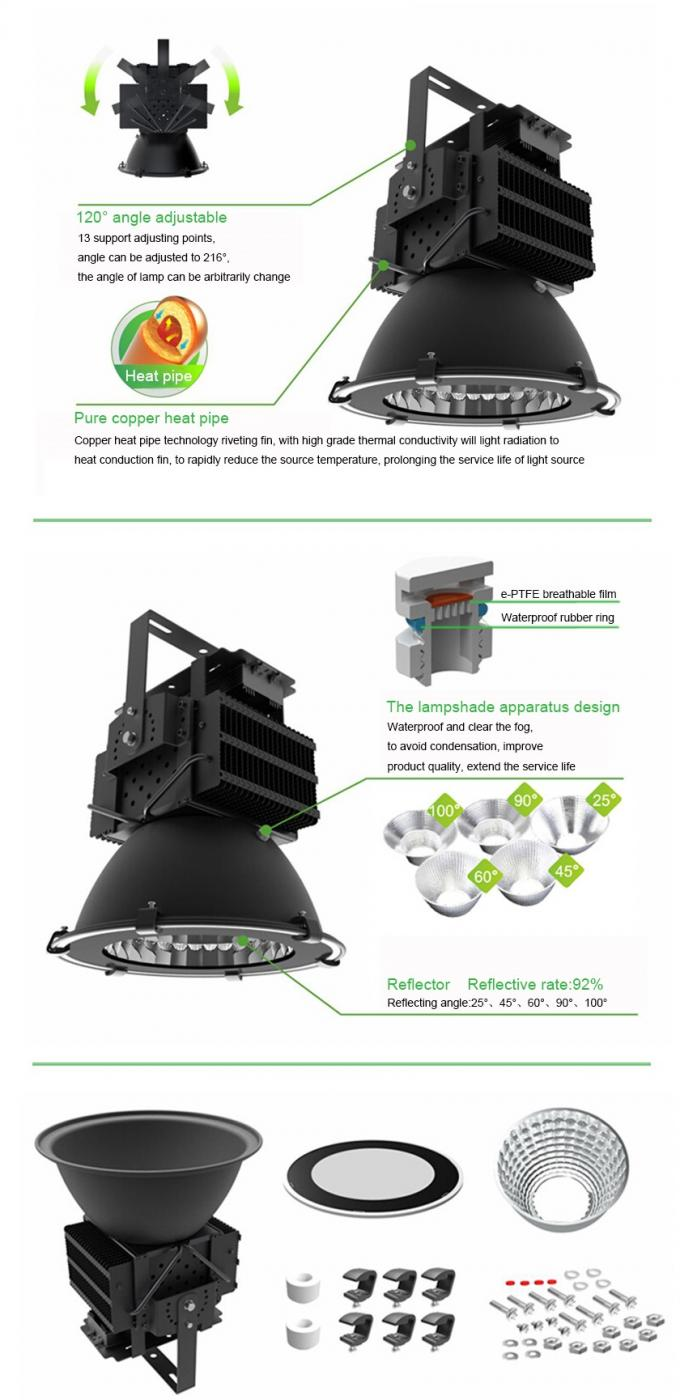 Round Reflector LED Stadium Floodlights Long Lifespan 400 W Low Work Temperature
