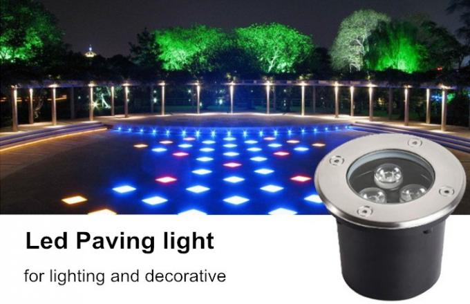 Round Step Outdoor Underground Lighting , 3w Deck Recessed Floor Led Lights