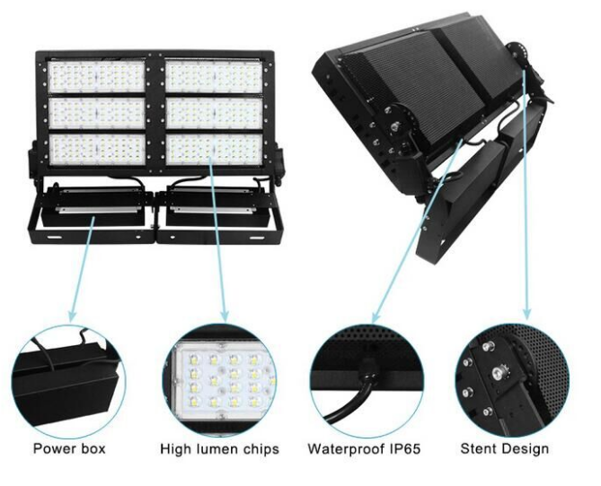 IP66 3030 LED Stadium Floodlights Aluminum / Tempered Glass Material For Gas Station