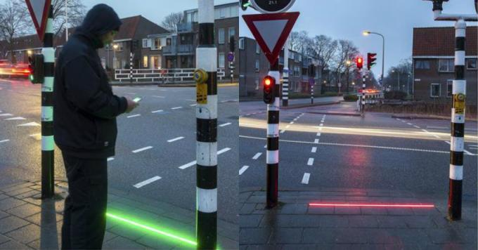 inground LED light flashing lights on the ground  Pavement lights pedestrian crossing light  road safely light cross